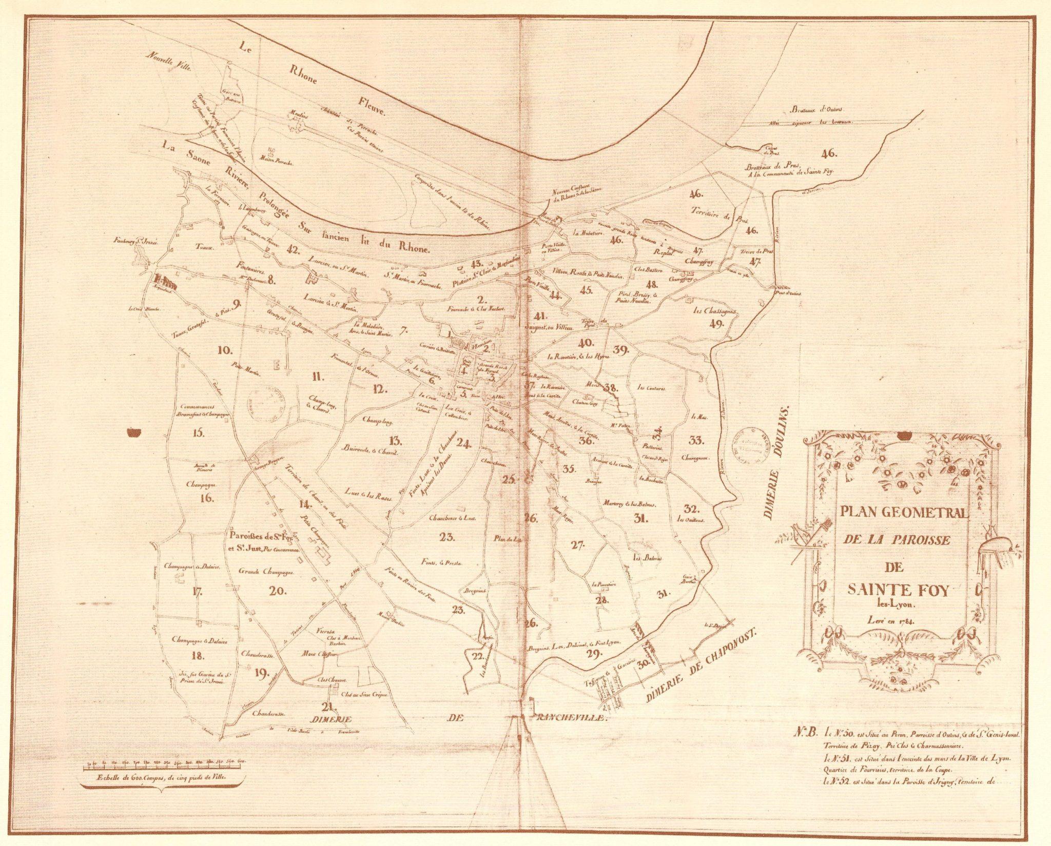 Plan géométral de la paroisse de SAINTE FOY-lès-Lyon en 1784